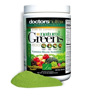 <strong>NEW Natural Greens 400 PLUS Superfood Tropical Flavor!</strong><br><i>Gluten Free Dairy Free with over 50 Superfoods!</i>